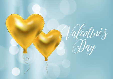 Valentines day background with heart shape golden metallic balloons. Realistic vector illustration.