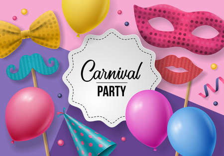 Carnival party background with carnival mask, photo booth props and balloons. Realistic vector illustration. Illustration