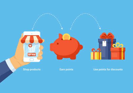 Compras on-line e ganhar pontos para o conceito de compra. Foto de archivo - 94734567
