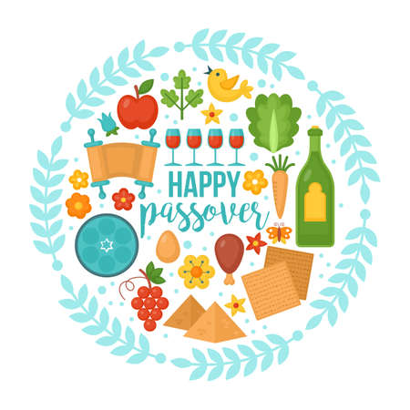 Passover greeting card design with matzo and wine  Illustration