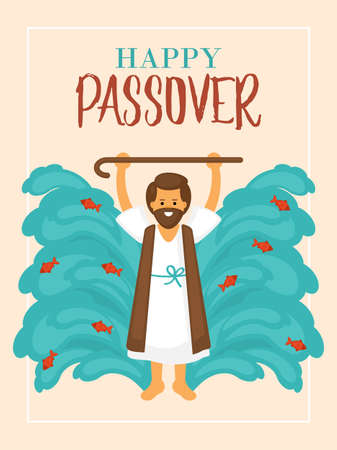 Passover holiday greeting card design with Moses and sea