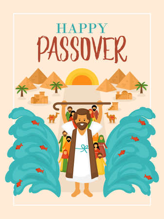 Passover holiday greeting card design with Moses and Egypt landscape Vettoriali