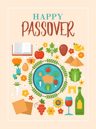 Passover holiday greeting card design with seder plate and matzo Ilustracja