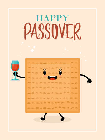 Passover holiday greeting card design with cute matzo character. Ilustracja