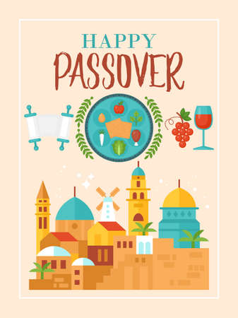 Passover holiday greeting card design with Jerusalem old city and seder plate Stock fotó - 95216367