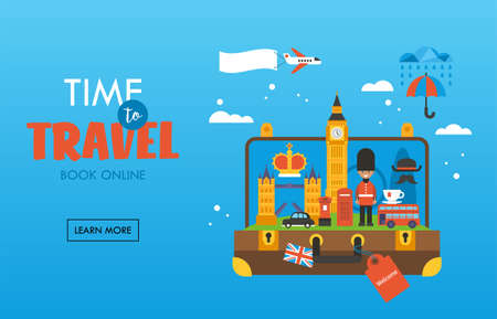 Travel to London, Great Britain concept with open suitcase and famous landmark