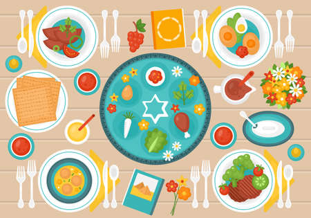 Passover holiday banner design with seder plate, matzo and dinner table. Top view style.