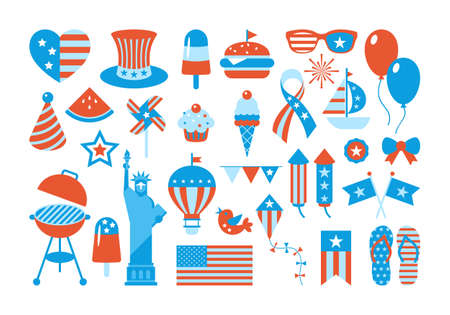 4th of July, Independence Day of the United States, set of elements, stickers and patches for design Ilustrace