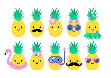 Simpatici personaggi di ananas impostati per adesivi tropicali estivi; design di toppe e spille. Illustrazione vettoriale