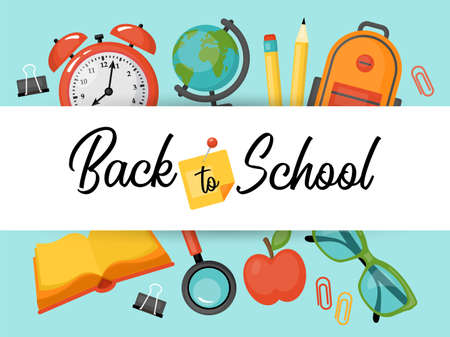 Back to school banner design with school supplies and typography. Vector illustration