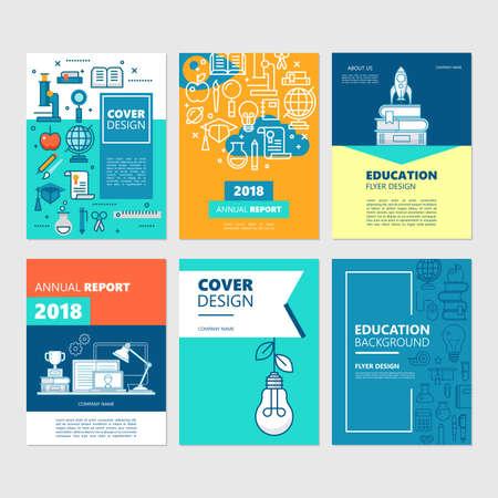 Conjunto de portadas de folletos y diseño de volantes para la educación y el concepto de regreso a la escuela. Ilustración de vector de informe anual de presentación de negocios. Ilustración de vector