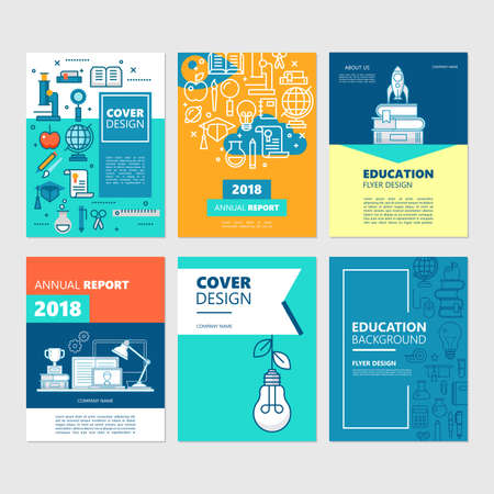 Brochure cover set and flyer design for education and back to school concept. Vector illustration for business presentation annual report.