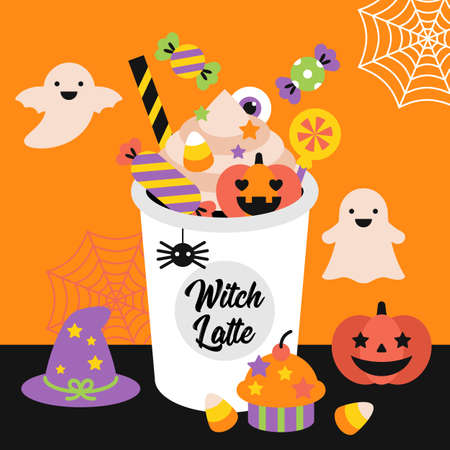 Halloween holiday banner design with coffee cup and candy. Pumpkin latte concept. Vector illustration