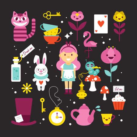 Set di elementi di Alice nel paese delle meraviglie per grafica e web design. Illustrazione vettoriale Vettoriali