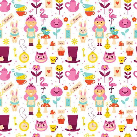 Alice in Wonderland seamless pattern background design. Vector illustration Ilustrace