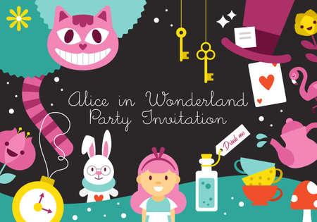 Disegno dell'invito per la festa di compleanno di Alice nel Paese delle Meraviglie. Illustrazione vettoriale Vettoriali