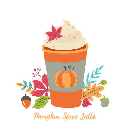 Taza de café con leche con especias de calabaza para el menú de otoño o el diseño de tarjetas de felicitación. Ilustración vectorial