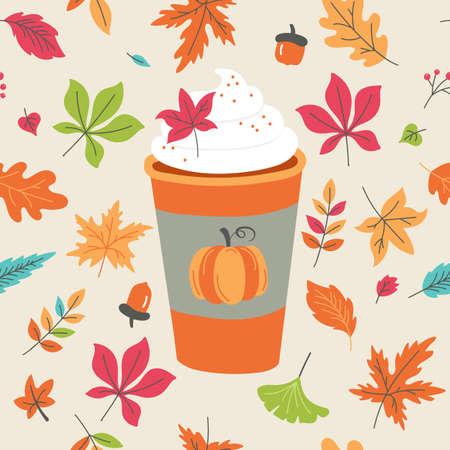 Tazza di caffè latte speziato di zucca per menu autunnale o design di biglietti di auguri. Illustrazione vettoriale
