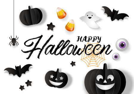 Halloween banner design with paper cut jack o lantern and decorations background. Vector illustration Ilustração
