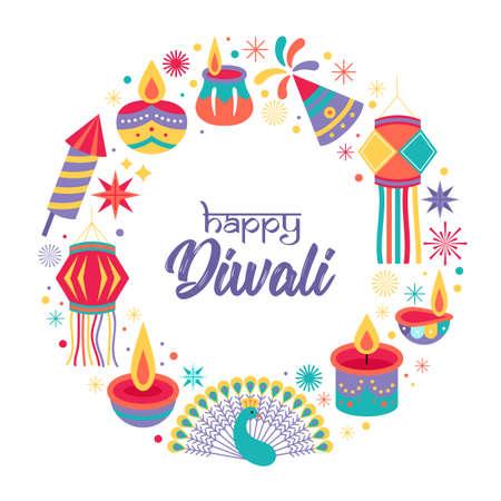 Diwali Hindu festival greeting card design. Vector illustration 矢量图像