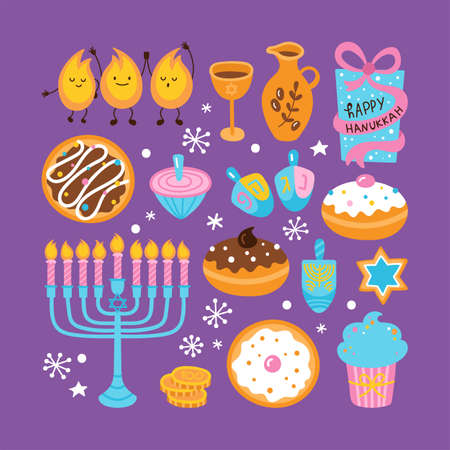 Jewish holiday Hanukkah element set for graphic and web design. Vector illustration