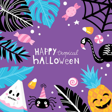 Hallowen holiday creative design with pineapplle. flamingo, watermelon and tropical leaves. Vector illustration