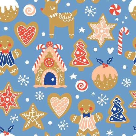 Christmas seamless pattern background with gingerbread house and cookies. Vector illustration