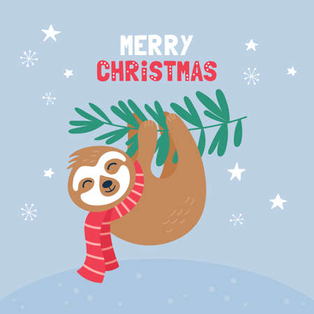 Cute sloth character Christmas card. Childish print for t-shirt, apparel, cards and nursery decoration. Vector Illustration