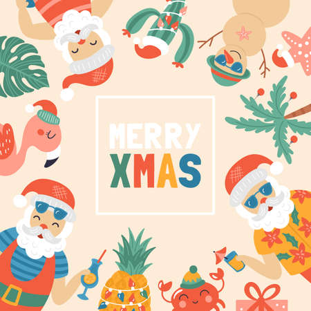 Christmas holiday cute greeting card with Santa Claus on sea beach. Childish print for cards, stickers, apparel and nursery decoration. Vector Illustration