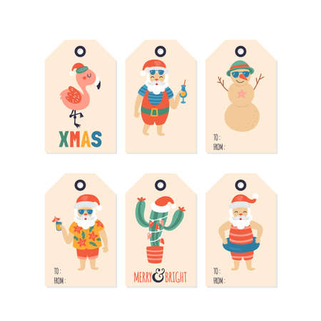 Christmas holiday cute gift tags and labels set with Santa Claus character on sea beach. Vector Illustration Banque d'images - 127719795