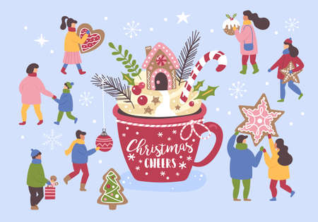 Christmas holiday concept with big hot chocolate cup and small  people dressed in winter clothes with Christmas cookies.  Vector illustration