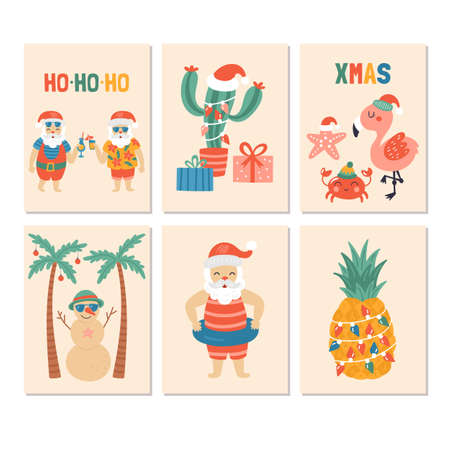 Christmas holiday greeting card set with Santa claus on sea beach. Childish print for cards and nursery decoration. Vector Illustration Illustration