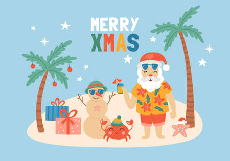 Christmas holiday cute elements set with Santa Claus on sea beach. Childish print for cards, stickers, apparel and nursery decoration. Vector Illustration Banque d'images - 127719797