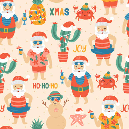 Seamless pattern for Christmas holiday with Santa Claus on sea beach. Childish background for fabric, wrapping paper, textile, wallpaper and apparel. Vector Illustration Illustration