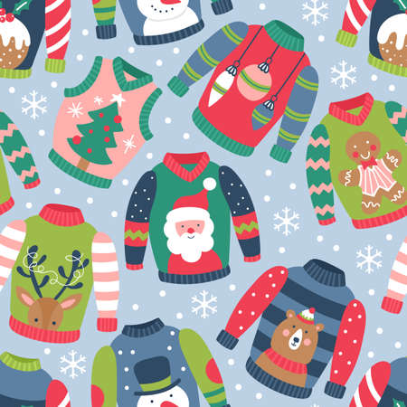 Seamless pattern for Christmas holiday with ugly sweater. Childish background for fabric, wrapping paper, textile, wallpaper and apparel. Vector Illustration Banque d'images - 127522923