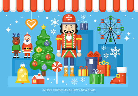 Christmas toy shop concept with nutcracker and gift boxes. Vector illustration Banque d'images - 127522924