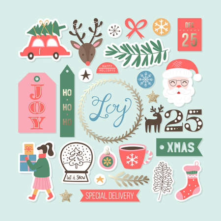 Christmas holiday cute elements set. Childish print for cards, stickers and gift tags decoration. Vector Illustration Banque d'images - 127522925