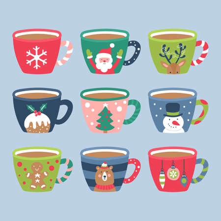Christmas holiday cute cocoa chocolate cup elements set. Childish print for cards, stickers, apparel and nursery decoration. Vector Illustration Banque d'images - 127522926