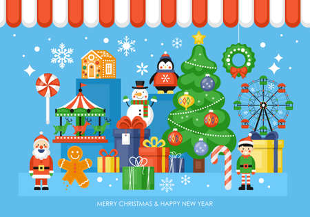 Christmas toy shop concept with Christmas tree, toys, and gift boxes. Vector illustration