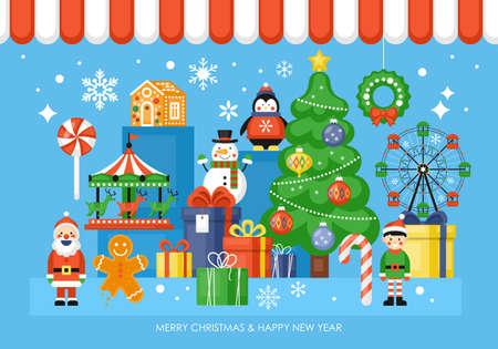 Weihnachtsspielzeugladenkonzept mit Weihnachtsbaum, Spielzeug und Geschenkboxen. Vektor-Illustration