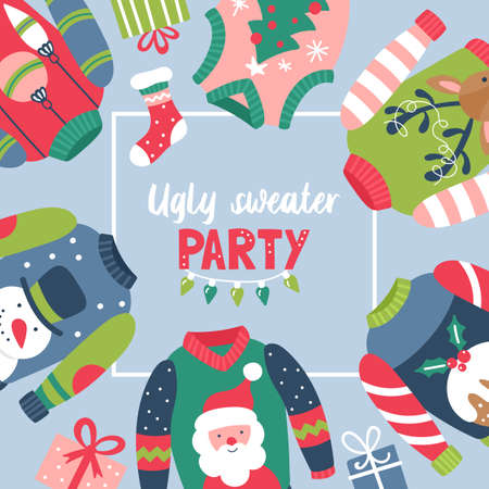 Christmas holiday cute ugly sweater party invitation design. Childish print. Vector Illustration Banque d'images - 127522928