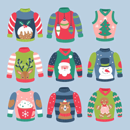 Christmas holiday cute ugly sweater elements set. Childish print for cards, stickers, apparel and nursery decoration. Vector Illustration Banque d'images - 127522929