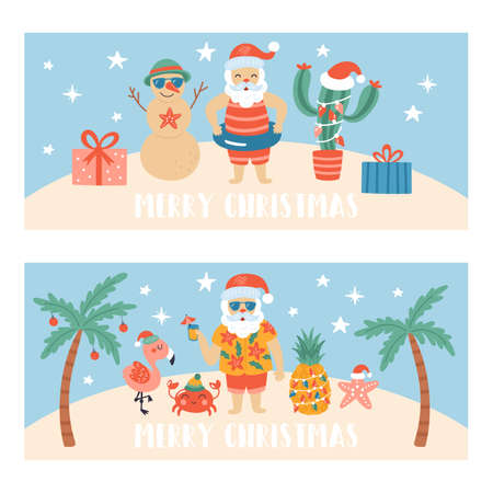 Christmas holiday cute greeting card set. Childish print for banner and nursery decoration. Vector Illustration