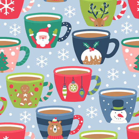 Seamless pattern for Christmas holiday with cocoa chocolate cup. Childish background for fabric, wrapping paper, textile, wallpaper and apparel. Vector Illustration Banque d'images - 127522930