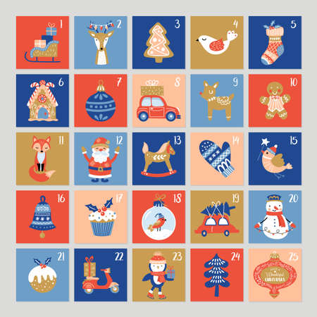 Christmas cute advent calendar. Childish print for greeting cards and stickers. Vector Illustration