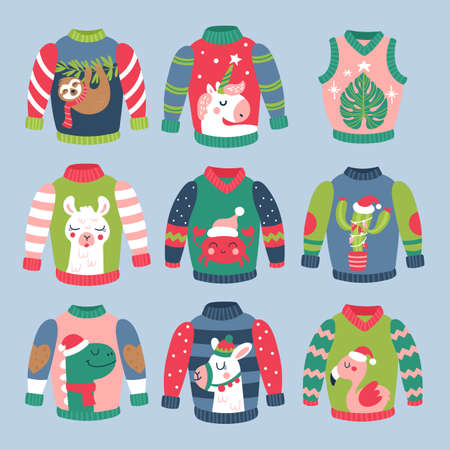 Christmas holiday cute ugly sweater elements set. Childish print for cards, stickers, apparel and nursery decoration. Vector Illustration Ilustração