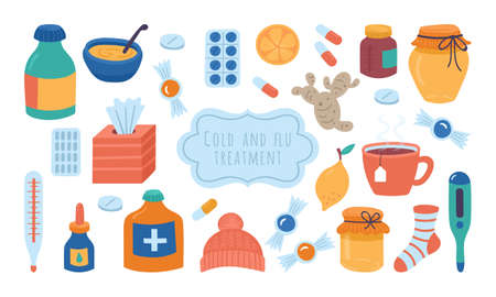 Cold flu and virus treatment concept. Handkerchief, medicine, drugs and natural illness treatments.Childish vector illustration