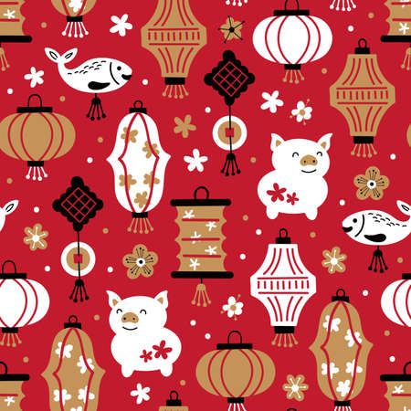 Chinese New Year holiday cute seamless pattern.Childish background for fabric, wrapping paper, textile, wallpaper and apparel. Banque d'images - 126779564