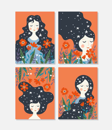 Womens day cute greeting card set with young woman and flowers. Childish print for cards, templates  and banners. Ilustrace