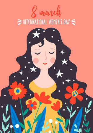 Womens day cute greeting card with young woman and flowers. Childish print for cards, templates  and banners.